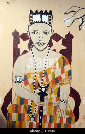 Peinture murale Voodoo sur un couvent. Togoville, le Togo. Banque D'Images