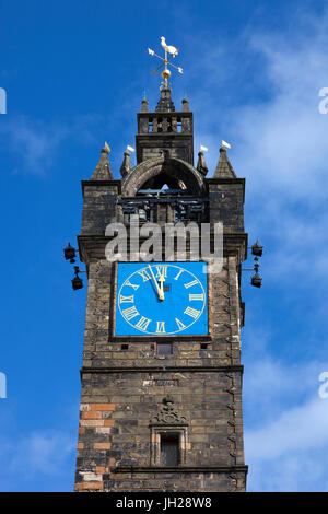Close up of le péage clocher, (Tour de l'horloge), Cross, Glasgow, ville marchande Trongate, Glasgow, Ecosse, Royaume-Uni Banque D'Images