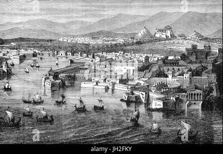 Une vue aérienne d'Athènes Piraeus sonic au cours du 5e siècle avant J.-C.. Il était constitué de trois ports, Kantharos, Banque D'Images