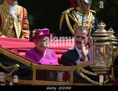Le Mall, Londres, Royaume-Uni. 12 juillet, 2017. Le roi Felipe et Letizia d'Espagne Queen sur un jour 3 visite d'État, Banque D'Images