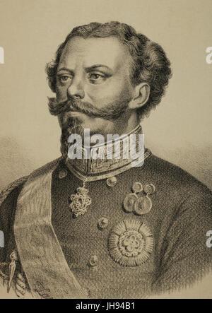 Victor Emmanuel II (1820-1878). Roi de Sardaigne et l'Italie. Gravure de Zarza dans Universal Gallery,1868. Banque D'Images