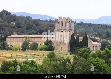 Portrait de l'abbaye Sainte-Marie de Lagrasse. Abbaye bénédictine de style roman, a été fondée au 7ème siècle. La Banque D'Images