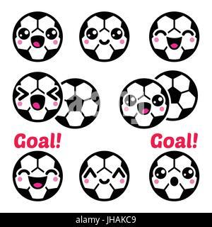 Kawaii Ballon De Soccer Football Icons Set Vector Icons Set