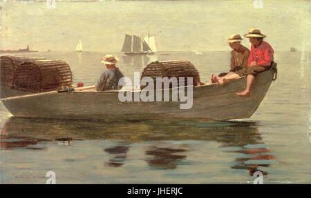 Homer, trois garçons dans un bateau Banque D'Images