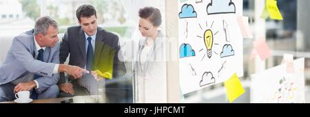 Digital composite de Businessman in office plan large Banque D'Images