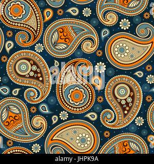 Transparente motif Oriental paisley ornement décoratif textile tissu toile de fond et le papier d'emballage.
