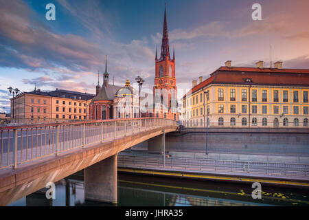 Stockholm. Image de la vieille ville de Stockholm, la Suède pendant le coucher du soleil. Banque D'Images