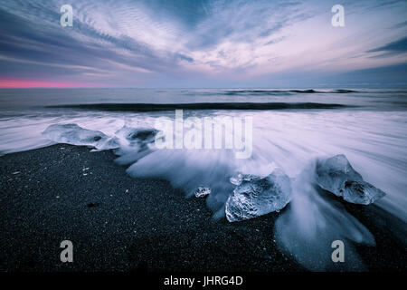 Plage du diamant dans la région de Hofn Islande Banque D'Images