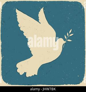 Colombe de la paix. Illustration de style rétro, vector, eps10. Banque D'Images