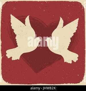 Deux amoureux des colombes. Illustration de style rétro, vector, EPS10 Banque D'Images