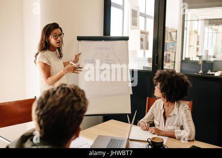 Femme expliquant de nouvelles stratégies pour les collègues au cours de réunion. Réunion du bureau d'affaires dans Banque D'Images