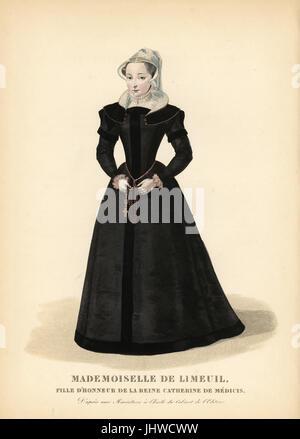 Isabelle de Limeuil, dame d'honneur et espion pour la reine Catherine de Médicis de la France, 1535-1609. Elle porte Banque D'Images