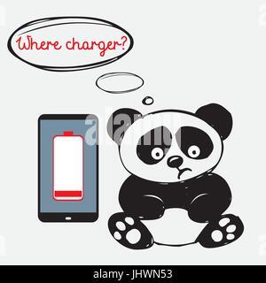 Sad panda mignon avec un smartphone qui est déchargée Banque D'Images