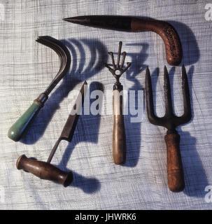 Outils à main de jardin Vintage Banque D'Images