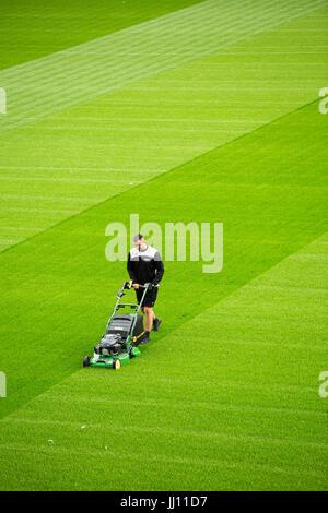 Un groundsman coupe l'herbe à Ashton Gate stadium, Bristol. Banque D'Images