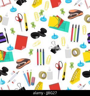 Modèle sans couture papeterie, vector background. Outils de bureau multicolore sur un fond blanc. Pour l'écran conception, Banque D'Images
