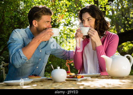 Smiling couple having cup of tea in garden Banque D'Images