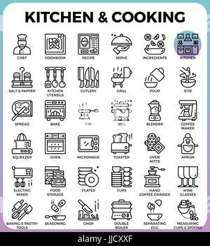 Concept de cuisine Cuisine et icônes de ligne détaillé mis en ligne moderne style icon concept pour l'interface Banque D'Images