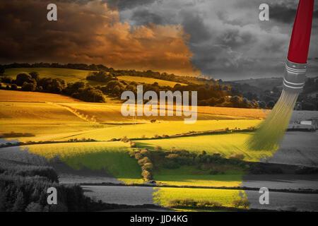 Image générée par ordinateur de pinceau rouge contre scène pays Banque D'Images