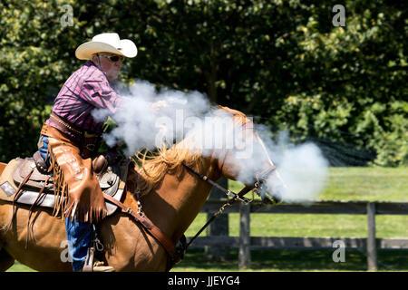 2017 Hudson Valley cow-boys- tir monté Cowboy Banque D'Images
