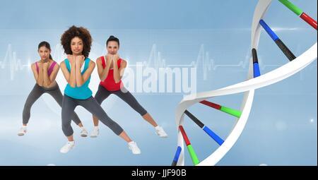Composite numérique des femmes aérobie avec des couleurs de la chaîne de l'ADN. Fond bleu Banque D'Images