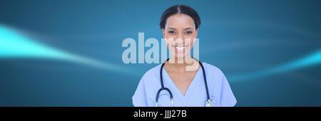 Docteur contre floue résumé fond bleu Banque D'Images