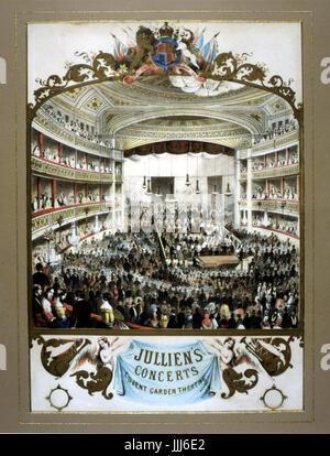 Jullien Concerts à Covent Garden Theatre du milieu du xixe siècle. Au cours de l'exercice de Concerto pour piano. Banque D'Images