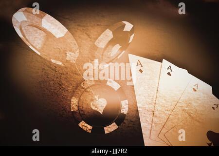 Image composite de l'image 3D de jeton casino rouge Banque D'Images