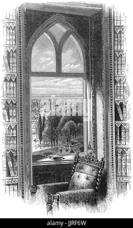 1870: la Chapelle St George et le château de Windsor, vu de la fenêtre de la bibliothèque. Windsor, Berkshire, Banque D'Images