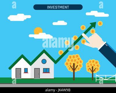 Investissement immobilier. Chambre avec courbe et pièces, main montrant le succès de l'investissement. Notion d'entreprise Banque D'Images