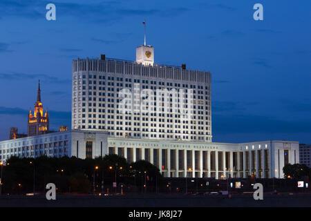 La Russie, de l'oblast de Moscou, Moscou, Presnya-salon, Maison Blanche, gouvernement, soir Banque D'Images