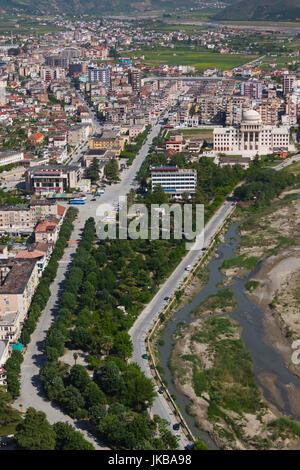 L'Albanie, Berat, elevated view de Mangalem, Vieille Ville