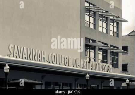 USA, Georgia, Savannah, signe pour le Savannah College of Art and Design Banque D'Images