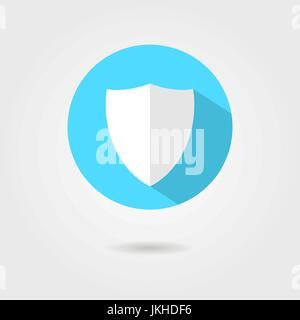 Icône de bouclier par le cercle bleu avec ombre Banque D'Images