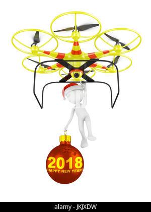 Drone et père Noël avec une boule sur laquelle est écrit en 2018. 3D render. Banque D'Images