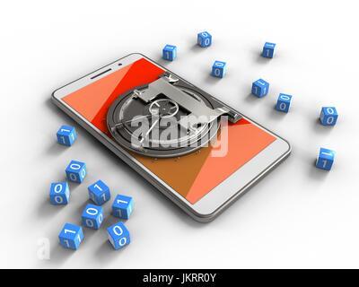 Illustration 3d de téléphone blanc sur fond blanc avec des cubes et binaire porte vault Banque D'Images