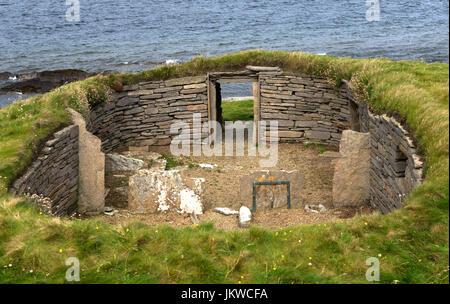 Knap de Hower, Papa Westray, Orkney, Scotland - l'une des plus anciennes habitations dans le Nord de l'Europe Banque D'Images