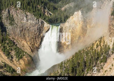 La brume enveloppe le pied 300 Lower Falls dans le Grand Canyon de la Yellowstone en parc national de Yellowstone, Banque D'Images