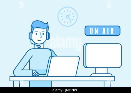 Vector illustration dans télévision style linéaire et couleur bleu - homme - diffuseur d'air en ligne interview Banque D'Images