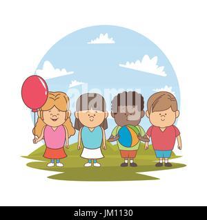 Fond blanc avec la couleur d'ossature paysage avec les enfants ensemble avec ballon et globe
