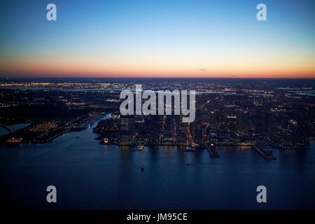 Vue aérienne de coucher du soleil à Jersey City et New Jersey USA exchange place Banque D'Images