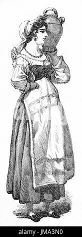 Ancien portrait gravé de la napolitaine servante, Italie. Créé par Ferogio, publié sur le Tour du Monde, Paris, Banque D'Images