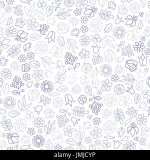 Icône fleur modèle transparente. Feuilles, fleurs floral. Spring background Banque D'Images