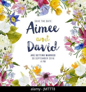 Carte d'invitation de mariage avec fleurs Aquarelle Banque D'Images
