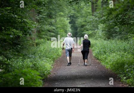 Couple en forêt en été Banque D'Images