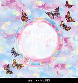 Aquarelle abstraite fond d'été. happy holiday card avec papillons et copiez l'espace. Banque D'Images