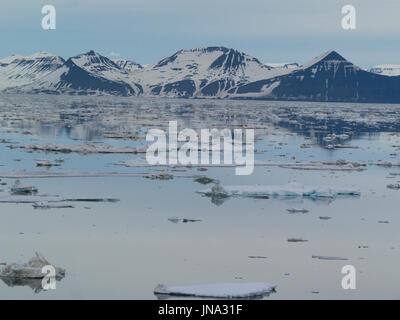 Plaques de glace couvrant les eaux de la grande baie marine Storfjorden entre l'île du Spitzberg à l'ouest et les Banque D'Images