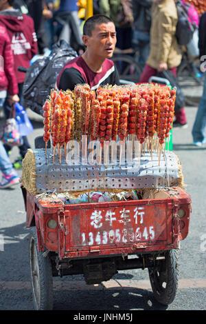 Vendeur chinois vendant des bonbons dans la rue en zone touristique de la cité interdite, Pékin, Chine