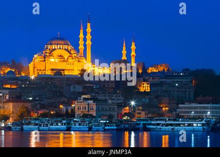 Mosquée de Suleymaniye au crépuscule, Istanbul, Turquie. Banque D'Images