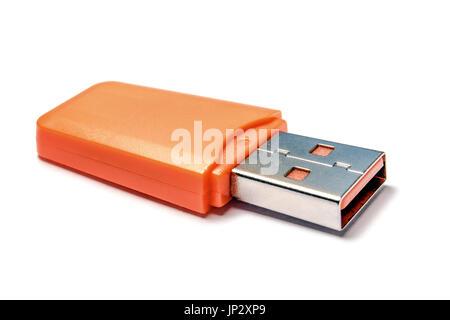 Lecteur flash USB libre sur fond blanc Banque D'Images